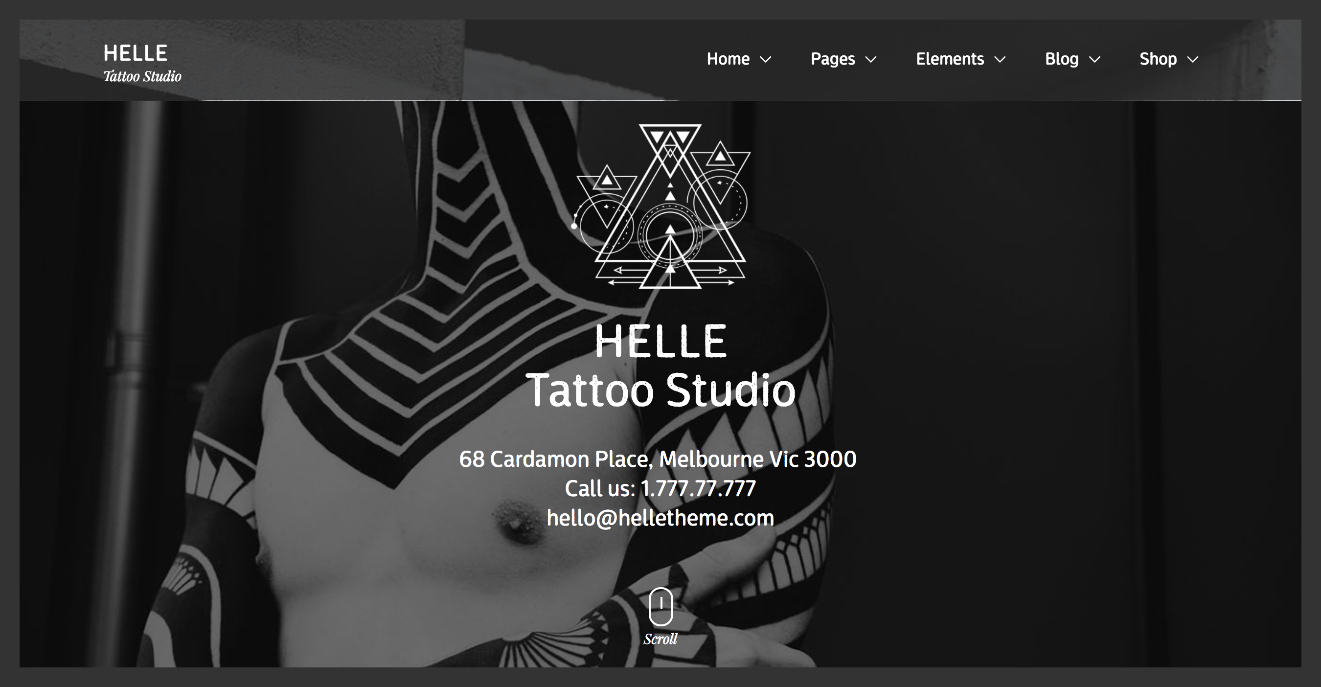 Helle tattoo studio and piercing WordPress theme.png