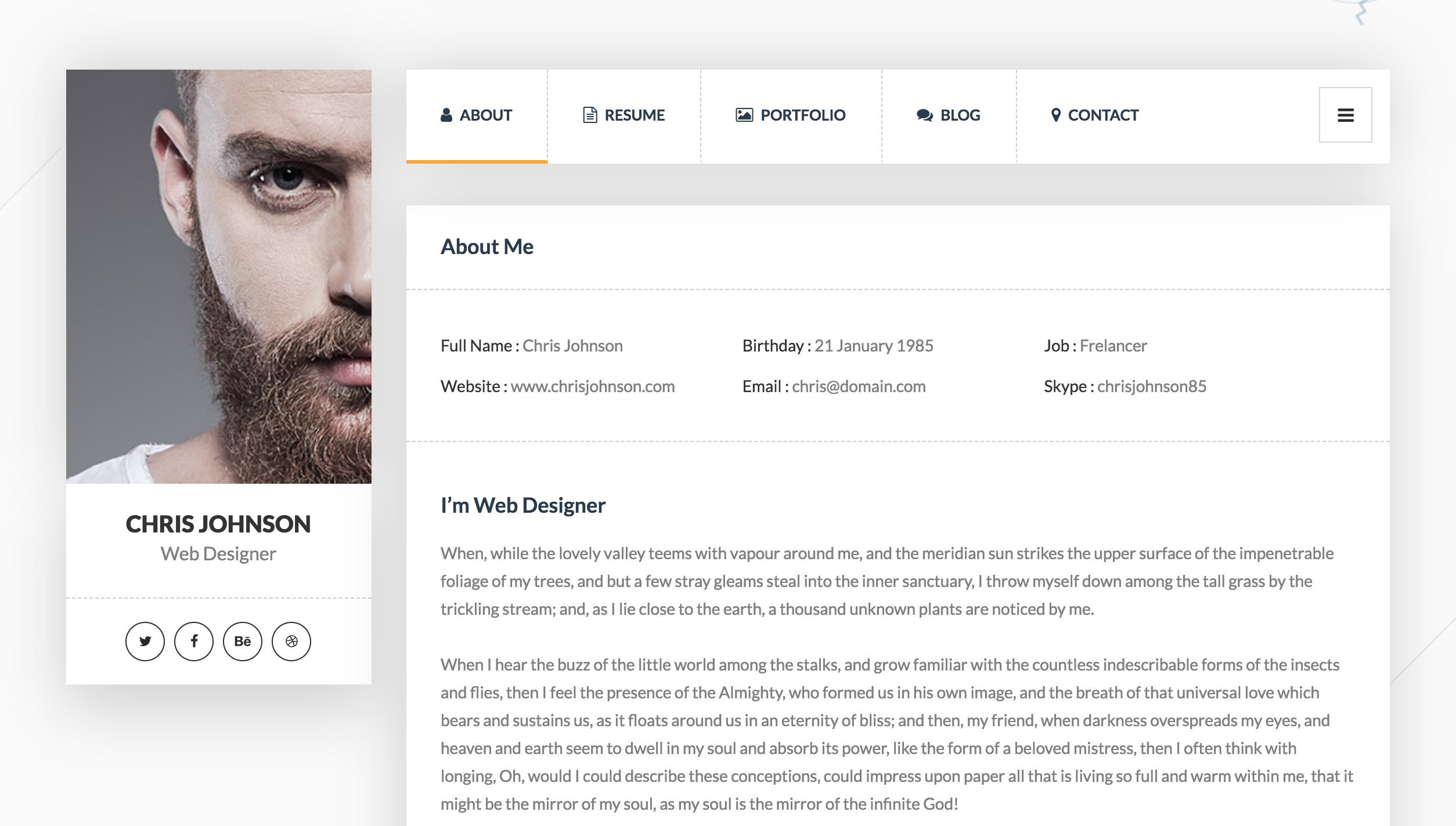 Picard vCard Resume WordPress Theme.png