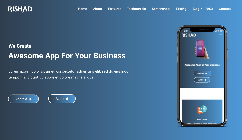 Rishad - App Landing WordPress Theme.png